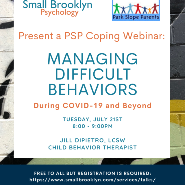 2020-July-21 Managing Difficult Behaviors with Jill DiPietro, LCSW